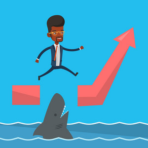 Risky businessman jumping over gap on ascending graph. An african-american risky businessman jumping over ocean with shark. Business risks concept. Vector flat design illustration. Square layout