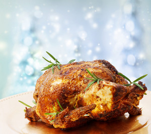 Roasted Whole Chicken with Rosemary on a Winter Blue Backdrops