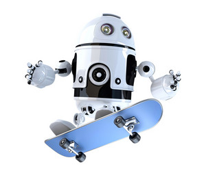 Robot with skateboard. Technology concept. 3D illustration. Contains clipping path.