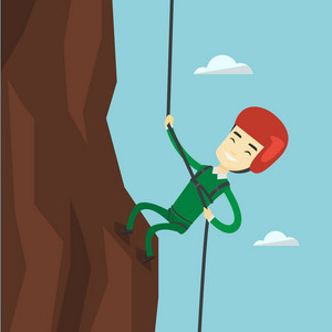 Rock climber in protective helmet climbing on a rock. Asian climber in action. Smiling man climbing in mountains with rope. Sportsman climbing a rock. Vector flat design illustration. Square layout.