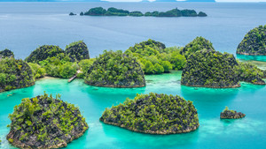 Rock Islands around Peanemo, Raja Ampat, West Papua, Indonesia