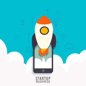 Rocket flying out of the smartphone, Creative illustration for Business Start Up concept.