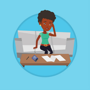 Sad african-american woman calculating home bills. Woman sitting on sofa and accounting costs and mortgage for paying home bills. Vector flat design illustration in the circle isolated on background.