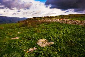 Sardinia countryside view with stone wall and green pasture - nature, green, holiday concept