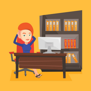 Satisfied business woman sitting at workplace in the office. Young successful business woman relaxing in the office with her hands clasped behind head. Vector flat design illustration. Square layout.