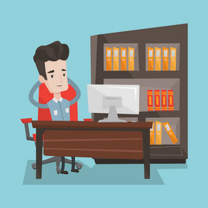 Satisfied businessman sitting at workplace in the office. Young successful businessman relaxing in the office with his hands clasped behind his head. Vector flat design illustration. Square layout.
