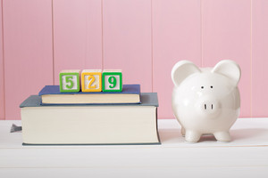 Saving for the costs of education with 529 plan concept with  piggy bank standing alongside stacked textbooks
