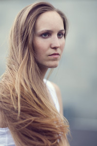 Scandinavian woman model with long brown hair