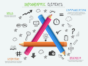 School Elements Infographics, Pencil Academic Elements