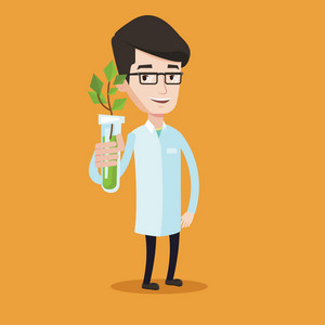 Scientist holding test tube with young plant. Man analyzing plant in test tube. Laboratory assistant in medical gown holding test tube with sprout. Vector flat design illustration. Square layout.