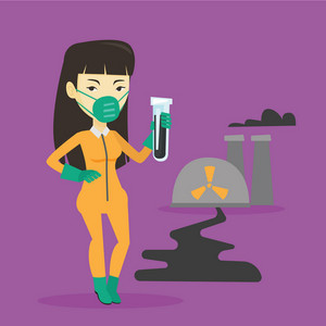 Scientist in radiation protective suit standing on the background of nuclear power plant. Asian woman in radiation protective suit holding test-tube. Vector flat design illustration. Square layout.
