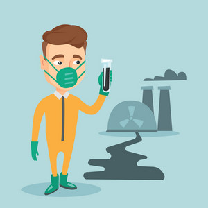 Scientist in radiation protective suit standing on the background of nuclear power plant. Caucasian man in radiation protective suit holding test-tube. Vector flat design illustration. Square layout.