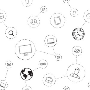 Seamless vector pattern of social media communication with icons