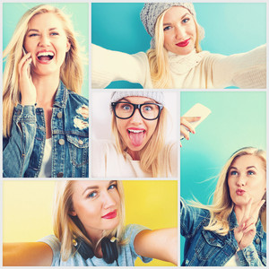 Selfie photo collection with young blonde woman