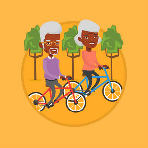 Senior african-american couple riding on bicycles in the park. Retired couple biking. Senior couple enjoying walk with bicycles. Vector flat design illustration in the circle isolated on background.