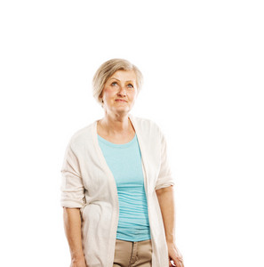 Senior casual woman style portrait, studio shot, isolated on white background