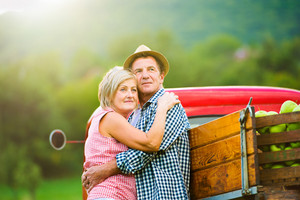 Senior couple hugging, standing at red vintage pickup truck, green sunny nature