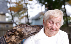Senior lady with brindle greyhound in backyard