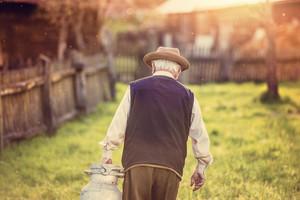 Senior man carrying a milk kettle on his farm