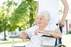 Senior Women in a Wheelchair with her Caretaker