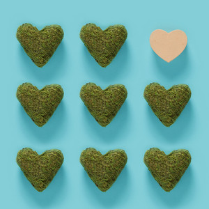 Series of green moss hearts with a one out concept