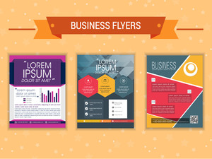 Set of Business flyers for your professional presentation on stars decorated orange background.