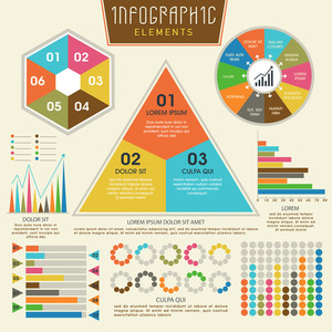 Set of business infographic elements including colorful statistical charts and graphs for professional presentation.