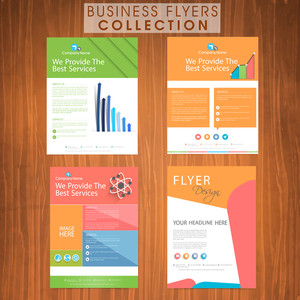 Set of colorful business flyers presentation with web icons and place holders for professional content and image.