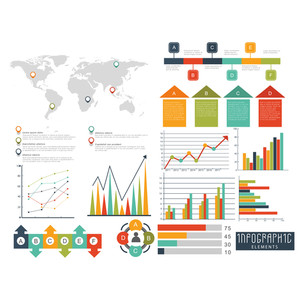 Set of colorful Business Infographic elements with statistical graphs, charts and world map for your professional report presentation.