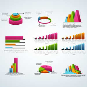 Set of colorful statistical infographic elements as charts, graphs and bars for Business concept.
