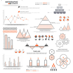 Set of creative Business Infographic elements including statistical bar, graphs and charts for your professional presentation.