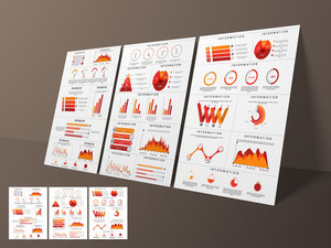 Set of creative business infographic template, flyer or brochure with colorful elements.