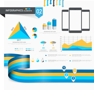 Set of creative business infographics elements including statistical bars, graphs and pie charts.