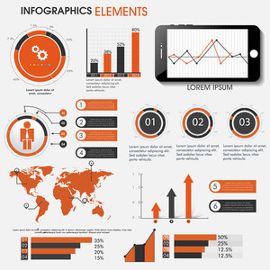 Set of creative Infographic elements with statistical bar, graphs, charts and world map for Business concept.