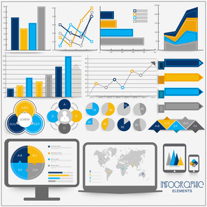 Set of creative infographic elements with statistical bars and graphs for Business presentations.