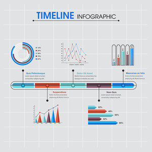 Set of creative timeline infographic elements with statistical graphs on grey background for your business or corporate sector.