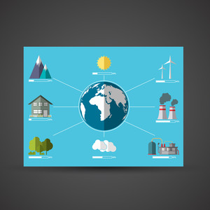Set of ecological infographic elements on sky blue background.