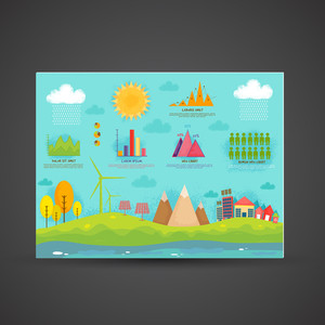 Set of ecology infographic elements including illustration of city view, solar panel, statistical graphs, wind turbines, weather and human info charts.