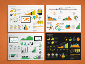 Set of four business infographic template with colorful elements for print, presentation and report.