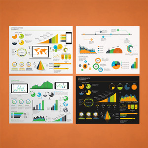 Set of four different Infographic template layout with statistical graphs and charts for Business Reports and presentation.