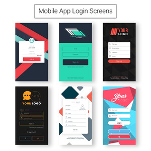 Set of six creative login Screens Material Design, UI, UX and GUI template layout with different Account Sign In and Sign Up features for e-commerce and responsive website.