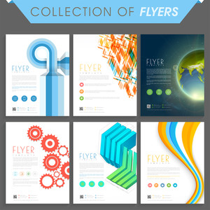 Set of six modern flyers or templates design for business.