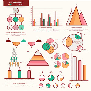 Set of statistical infographic elements as charts, graphs and bars for Business concept.