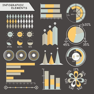 Set of various business infographic elements including statistical graphs, pie charts and arrows for professional reports presentation.