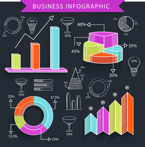 Set of various colorful business infographic elements including statistical graphs and charts on black background.