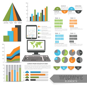 Set of various creative infographic elements layout with digital devices for business reports and professional presentation.