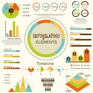 Set of various statistical business infographic elements for your professional reports presentation.