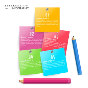Shiny colorful infographic papers with pencils on white background for Business.