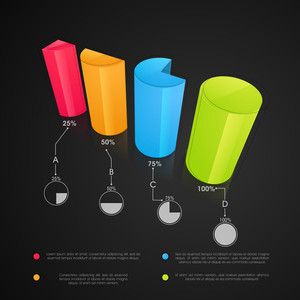 Shiny colorful statistical 3D bars for your Business reports and presentation.