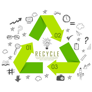 Shiny green recycle sign or symbol surrounded by various infographic elements on white background.